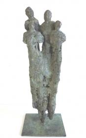 brons _ vier _  personages _ waardering _ groep _ grijs _ groen _ Koksijde _ Wulpen _ beeldhouwen _ zeedijk
